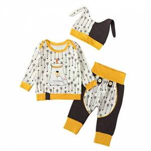 jieGorge Boy Outfits Set, Newborn Infant Boys Girls Cartoon Cute Bear T-Shirt+Pants+Hat Outfits, Clothes for Baby Kids (Multicolor 12-18 Months)