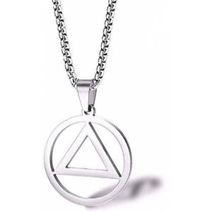 Wlhlfl Co.,Ltd WLHLFL Necklace Round Triangle Pendant Eminem Amm with The Iron Triangle Necklace Men and Women Hip Hop Titanium Steel Accessories