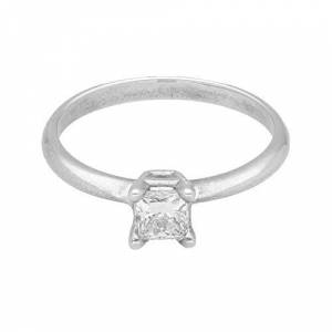 Jollys Jewellers Women's 18Carat White Gold 0.50ct Princess Cut Diamond Solitaire Ring (Size L 1/2) Luxury Ladies Ring