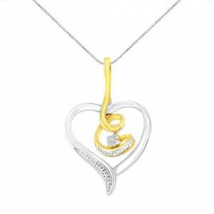 "Vjg Espira 10K Gold .03 Cttw Diamond-Accented Round-Cut Diamond Swirl Open Heart 18"" Pendant Necklace (I-J Color, I2-I3 Clarity) - Choice of Gold Colors NA metallic"
