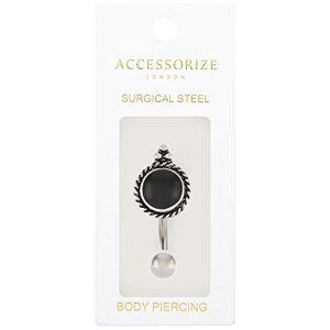 Accessorize Round Jet Belly Bar Women Silver Hypoallergenic Chic