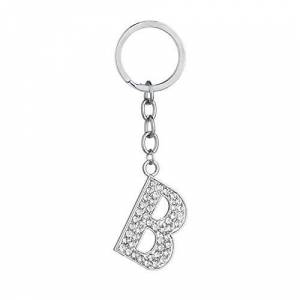 Aooaz Stainless Steel Key Ring for Teens Letter B with Cubic Zirconia (Silver B)