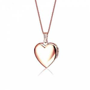 Lifashion LF Stainless Stee 18K Rose Gold Plated Personalised Name Date Love Custom Heart Locket Necklace that Holds Pictures Openable Photo Pendant for Girls Womens,Free Engraving Customized,Pink Inside