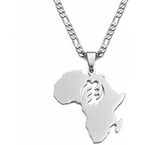 Facaiba Co.,Ltd FACAIBA Necklace African Map Symbol Pendant Necklaces Women Men Gold Color Stainless Steel Adinkra Ethnic Jewelry na