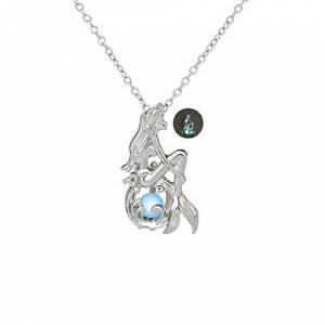 AIUIN Jewellery Women's Necklace Glow-in-The-Dark Ice Blue Green Half Moon Mermaid Hollow Pendant Necklace Luminous Stone HG