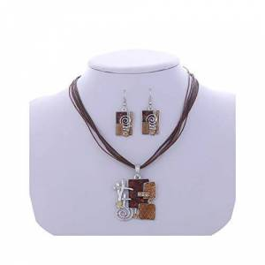 Na Enamel Geometry Pendant Necklace Earrings Set Silver Plated Wax Rope Layers Retro Jewelry Sets Fashion Circle Necklace Wedding-823-