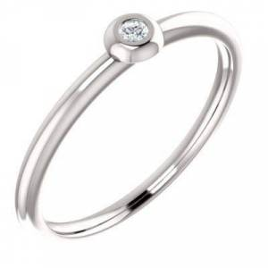Jewelryweb 14ct White Gold Polished .03 Dwt Diamond Stackable Ring Size M 1/2 Jewelry Gifts for Women