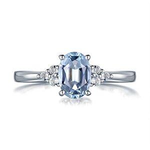 Ubestlove Aquamarine Crystal Ring Women Rings White Gold 21St Birthday Gifts For Girlfriend L 1/2