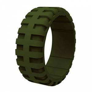 Loveyorl NA LOVEYORL Men's Silicone Tire Pattern Wedding Ring, Exquisite Sports Pattern, Singles Rubber Ring, Also Breathable, Especially Suitable for Athletes (Army Green,#9)
