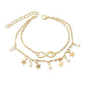 AIUIN Ankle Bracelet Women Girls Silver Double Star Sequin 8 Shape Chain Ankle Bracelet Barefoot Beach Jewellery 1pcs 20+5cm