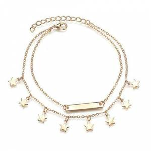 JXCG Boho Star Ankle Bracelets Beach Anklets Foot Chains Adjustable Foot Hand Jewelry for Women Girls