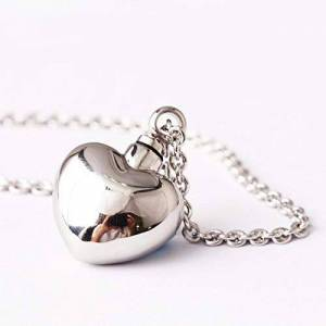 Hiikk Ashes Keepsake 316l Stainless Steel Openable Love Heart Locket Necklace Keepsake Memorial Pets Jewelry Ashes Urn Pendant Necklace-1 pc necklace