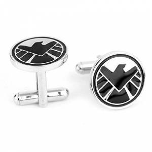 Beaux Bijoux The Avengers End Game Black and Silver Cufflinks - Justice League Superhero Marvel S.H.I.E.L.D. Cuff Links - End Game Cufflinks for Men