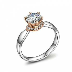 MF.CHAMA Ladies Engagement Ring, Rings Women Diamond 6 Claw Size L 1/2