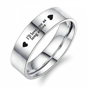 Adisaer Wedding Statement Party Ring I'll Love You as Long as Live Heart Stainless Steel Ring for Men Silver Size P 1/2