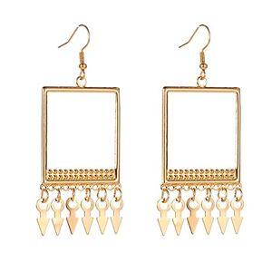 Nikgic. Nikgic Fashion Earrings Gold Geometric Earrings Arrow Tassel Earrings Long Earrings Modern Gift Earrings for Women Lady Girl Valentine Birthday Anniversary Party - B