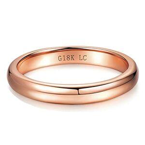 AueDsa Ring Rose Gold 18K Rose Gold Women Ring Rose Gold Ring 3mm Ring Size N 1/2