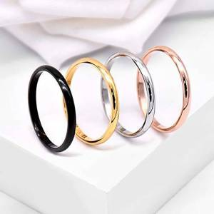 Asu-1436 koueja101 Rings for Women Fashion Couple Fashion Plating Titanium Steel Finger Ring Party Jewelry Accessory Gift - Golden Us7 Rings for Men Club Party Banquet Daily Life Gift