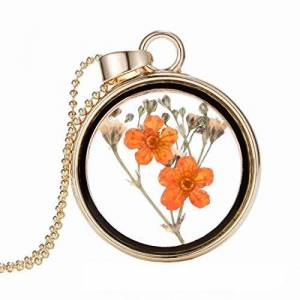 AllRing Women's Necklace Women Creative Alloy Necklace Jewelry Plant Dried Flower Clover Pendant Necklace for Women Girls Mum Gifts Style 6