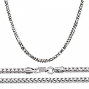 "Na Florence Jewelers Unisex 925 Italian Rhodium Sterling Silver 3mm Franco Square Box Chain Necklace, 18"" - 30"""