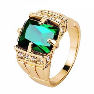 TankMR Exquisite Jewelry Ring Love Rings Men Square Cubic Zirconia Rhinestone Finger Ring Wedding Jewelry Gift Wedding Band Best Gifts for Love with Valentine's Day - Green US 7