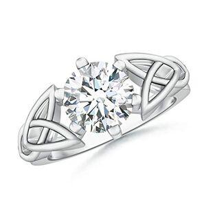 Angara Solitaire Round Diamond Celtic Knot Ring in 9K White Gold (8mm Diamond)