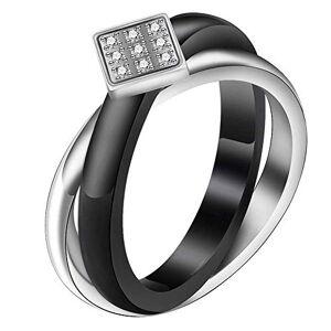 Anhuihuijiaweicanyinguanliyouxiangongsi NA Micro Inlaid Zircon Titanium Steel Cross Black Ceramic Women's Ring