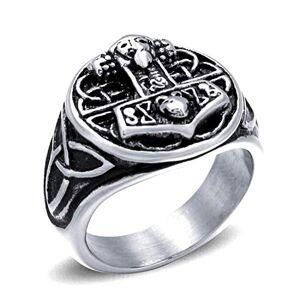Hechishixuntengwenhuakejiyouxiangongsi NA 316L Stainless Steel Viking Jewelry Norse Thor's Hammer Knot Mjolnir Locket Viking Rings Men