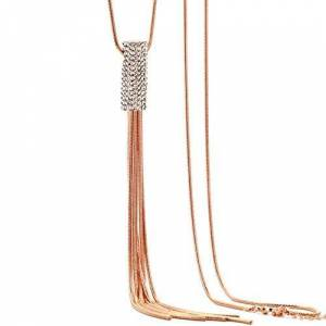 Auvwxyz. Necklaces Ladies Fashion Alloy Trend Simple Personality Wild Crystal Tassel Jewelry Sweater Necklace-Rose Gold