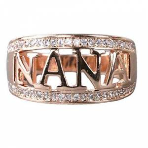 Gyanner GOMYIE Exquisite Nana Ring Grandmother Nana Christmas Gift Birthday Present Ring(Rose Gold Color Style 7)