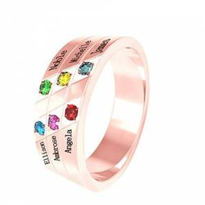 NA Personalized Women's Ring Custom Family Ring 925 Silver Name Ring Engraved 6 Name & Birthstone Ring(Rose-Gold Q 1/2)