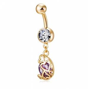 Wiftly Women's Belly Bar with Pendant Fashion Personality Hollow Heart Long Cubic Zirconia 316L Surgical Steel Banana Belly Dance Body Jewellery