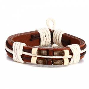 Yingque Botreelife Vintage Bracelets Bronze Spring Wood Beads Hemp Rope Handmade Weaving Leather Strand Bracelets for Couple Jewelry Gifts,Brown