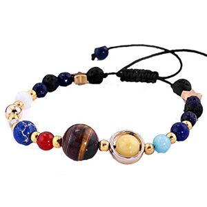 Liqinstore Sevenfly Handmade Galaxy Solar System Bracelet Universe Eight Planets Star Natural Stone Beads Bracelets Bangles(color)