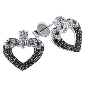 Goldmaid Pair of Heart Stud Earrings 585 White Gold 160 Diamonds 1.04 ct.