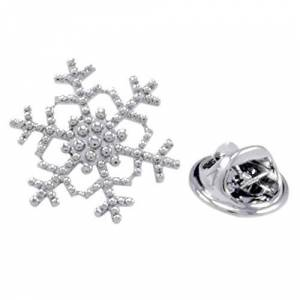 IPOTCH Silver Brass Snowflake Lapel Pin Brooch Badge for Clothing Bags Backpacks Jackets Hat Decor
