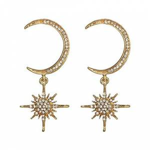 JINLILE Women's Earrings Pendant Cheap Moon and Stars Elegant Earrings Fashion Shiny Party Simple Luxury Chic Gift gold