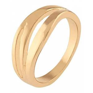 Accessorize Chunky Wave Ring Women Size Small Gold Single Rings Gold-Tone