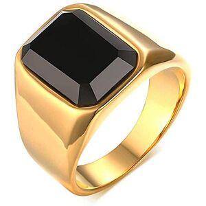 Lianhuaxianshifandianzishangwuyouxiangongsi NA Men's Minimalist Gold Jewelry Black Agate Stainless Steel Rings