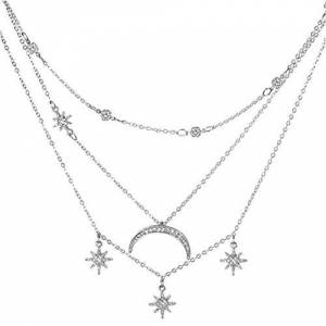 QQWA Three Layer Chain Star Moon Tassel Shell Choker Necklace For Women, Choker Necklace Set Multilayer Layers Chain Clavicle Necklace Jewelry For Women,Silver