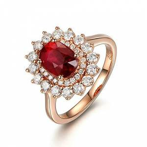 AueDsa 18K Rose Gold Women Ring Rose Gold and Red Women Ring Flower Red Ruby 2.03ct with Diamond 0.75ct Ring Size L 1/2