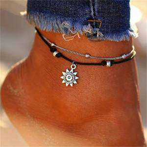Minjia Beeinch adjustable Retro Carved Sun bead chain Alloy Double Anklet Fine Beach Accessories, Ancient Silver color