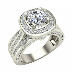 Glitz Design Trio Diamond Shank Cushion Halo Engagement Ring 1.70 Carat Total Weight 14K White Gold