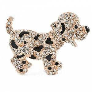 Avalaya Happy Dalmatian Puppy Dog Brooch in Rose Gold Tone Metal - 55mm
