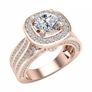 Glitz Design Trio Diamond Shank Cushion Halo Engagement Ring 1.70 Carat Total Weight 14K Rose Gold