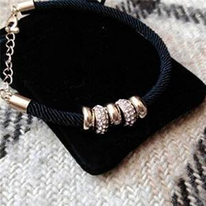L_shop Simple Slide Beads Simulation Rhinestones Gold Color Rope Charm Bracelets Chain Lobster Jewelry for Women