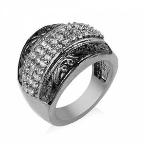 R S CRAFTS Black Rhodium Gold Plated American Diamond Cz Ring For Girls And W. (Black Rhodium, L)