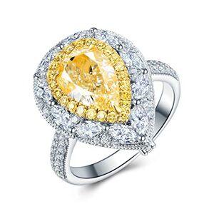 Bishilin 18K White Gold Wedding Ring Water Drop Diamond Band Rings Engagement Wedding Silver Size:S 1/2