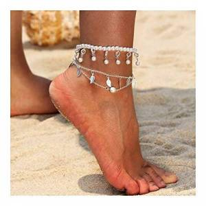 Znxhndsh HND ZNXHNDSH Vintage Gold Silver Anklets for Women Elephant Pendant Charms Box Chain Beach Summer Foot Ankle Bracelet Wholesale Jewelry (Color : J059)