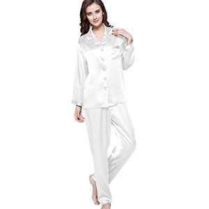 LilySilk Women's 100 Silk Pyjama Set Long Pajamas Ladies 2Pcs 22 Momme Pure Mulberry Silk Charmeuse White Size 12/M